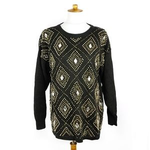 Vintage black beaded Western Connection sweater, M